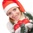 Woman with christmas ornaments — Stock Photo