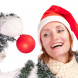 Woman with christmas ornament - Stock Photo