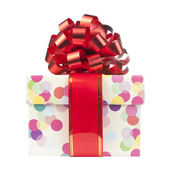 подарок с большой красный лук и ленты — Стоковое фото