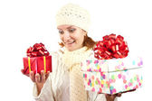 Happy smiling woman with gifts — Stock Photo