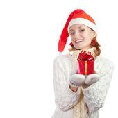 Happy woman in christmas hat — Stok fotoğraf