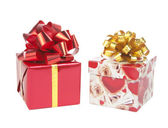 Two gift boxes with bows bows — Stock Photo