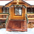 Stock Photo: Porch Christmas wooden mansion
