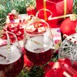 Holiday gifts and wine glasses — Stock Photo #4222745