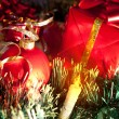 Holiday ornaments, gifts and candle — Foto Stock