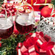Holiday gifts and wine glasses — Stock Photo #4222747