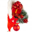 Christmas hat full of red ornaments — Stock Photo