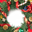 Christmas wreath with ornaments — Stock Photo