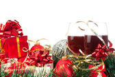 Holiday gifts and wine glasses — Стоковое фото