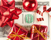 One hundred bill with ornaments — Stock Photo