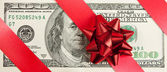 One hundred bill with red bow and ribbon — Stock Photo