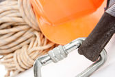 Climber's ropes and protective wear — Stock Photo