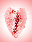Red origami heart — Stock Photo