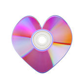 Close-up of colorful CD heart — Stock Photo