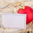 pallina di Natale e business card — Foto Stock