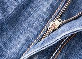 Ritssluiting op denim blue jeans — Stockfoto
