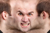 Panoramic face of angry man — Stock Photo