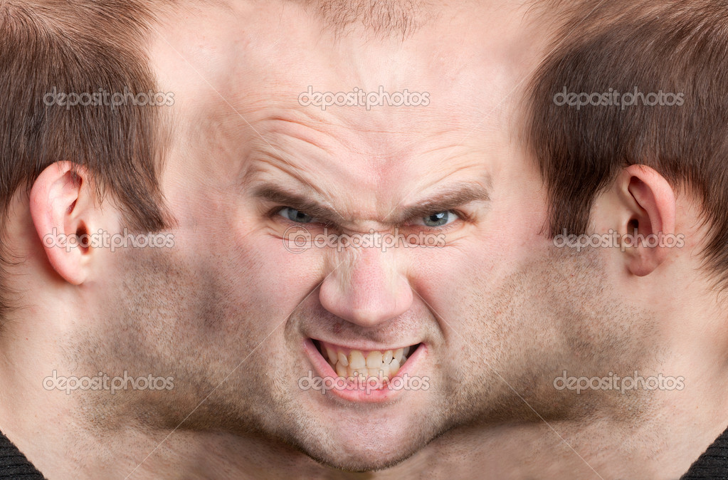 A panoramic face of very malicious man  Stock Photo #4817461