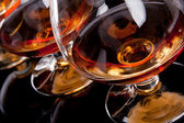 Three glasses of cognac — Stock Photo