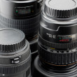 Three professional camera lenses — Stock Photo