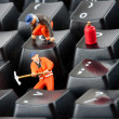 Workers repairing keyboard — Stock Photo