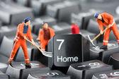 Workers repairing keyboard — Stock Photo