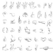 Silhouette sketches of hand signs — Stockfoto