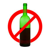 Prohibiting symbol of alcohol drinking — Stock Photo