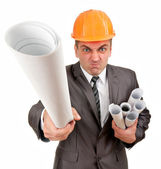 Furious contractor with plans — Stock Photo