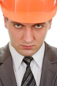 Serious engineer in hardhat — Stock Photo