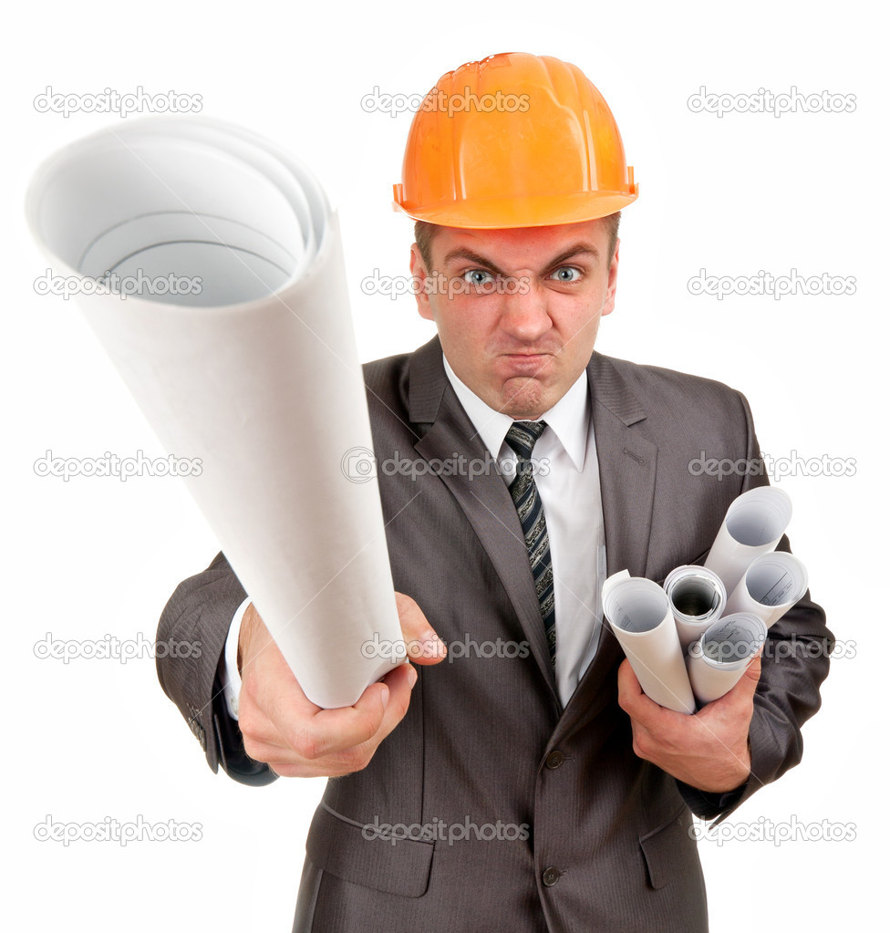 Furious contractor with plans isolated on white  Stock Photo #5271237