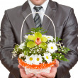 Happy businessman with basket of flowers — Stock Photo