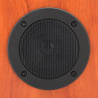 Round black loudspeaker — Stock Photo #5347497