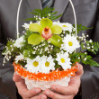 Happy businessman with basket of flowers — Stock Photo #5347768