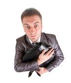 Funny business man holding briefcase — Stock Photo