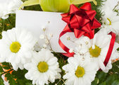 Bouquet of daisies with card — Stock Photo