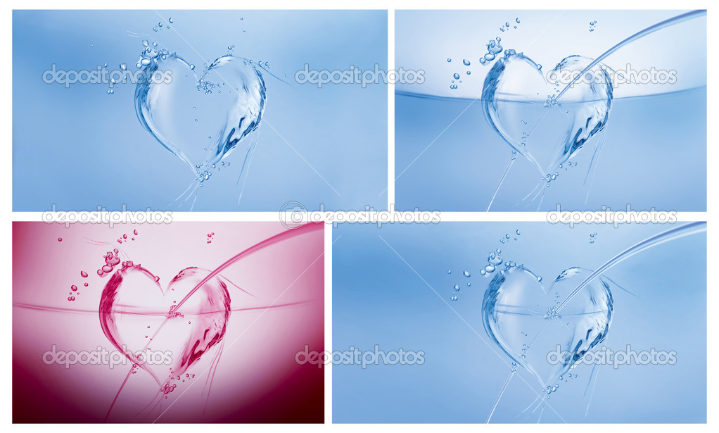 A collage of three blue hearts made of water and a dark pink one on white. — Stock Photo #4115024