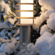 Stock Photo: Light illuminating terrace of snow