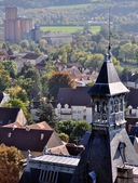 High bell tower of a church in Champagne — Stock Photo