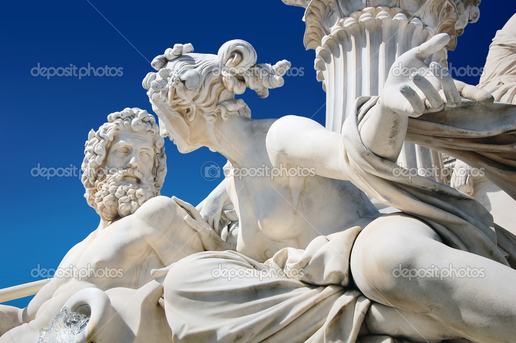 Detail of Athene fountain in Vienna, Austria  Stock Photo #4341731