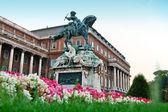 Socha Evžen Savojský před Budínského hradu, Budapešť — Stock fotografie