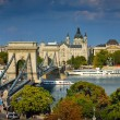 The famous Chain bridge in Budapest - Stock Photo