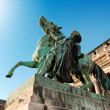 A horse and rider statue at Royal palace in Budapest — Stock Photo