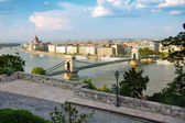 Budapest panorama and the famous Chain bridge — Stock Photo