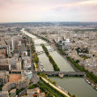 Panoramic view of Paris and river Seine - Stock Photo