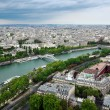 Panoramic view of Paris from Eiffel tower - Stock Photo