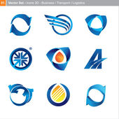 Vector icons: 3d set for business, transport, logistics — Stock Vector