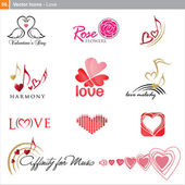 Vector icons: love — Stock Vector