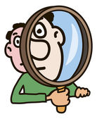 Man with magnifying glass — Stock Vector