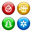 Ring buttons for xmas — Stock Vector